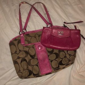 Authentic Coach purse and wristlet